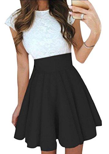 Short Pleated Women A Patchwork Jaycargogo Sleeve Dresses Line Lace Black 4qOCPwP