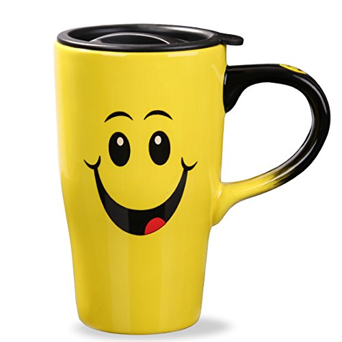 Minigift Ceramic Travel Coffee Mug 17oz Yellow Smile Face Mug With Lid