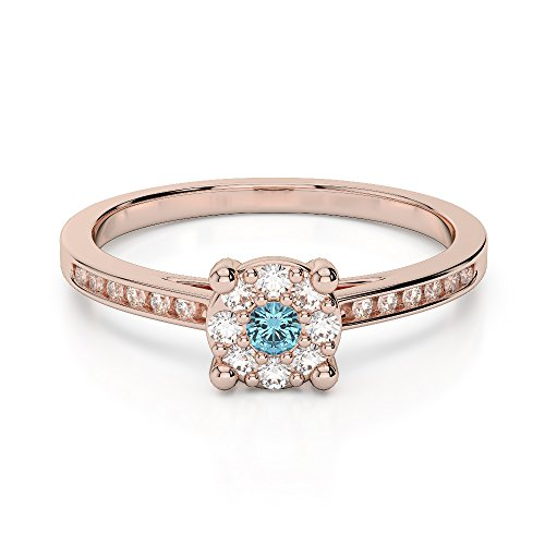 Or Rose 18carats 1/4ct G-H/VS sertie de diamants ronds Cut aigue-marine et bague de fiançailles Agdr-1163