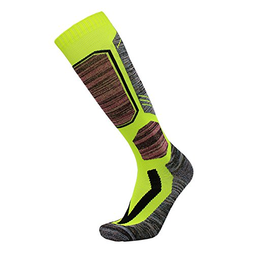 Outdoor Ski Socks,Cushioned Wicking Warm Knee High Snowboard Socks (US 6.5-US 8.5, Green)
