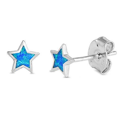 Cute Lab Created Blue Opal Star Stud .925 Sterling Silver Earrings SEO5736-BO