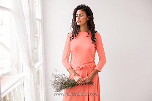 Coral long sleeve dress, coral long dress with sleeves, salmon pink dress, coral long sleeve dresses, long coral dress, coral event dress by Mimètik Bcn
