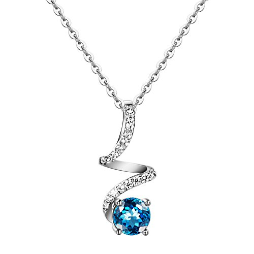 Carleen Sterling Silver Blue Topaz Pendant Necklaces for Women, Pendant for Daily Life, Gift, Wedding ()