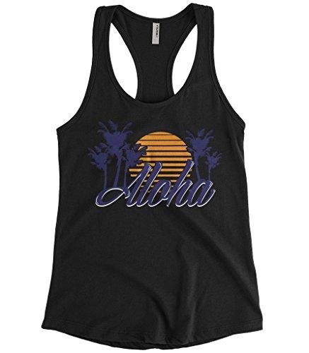 Cybertela Women's Aloha Hawaiian Hi Sunset Palm Tree Racerback Tank Top (Black, Medium)
