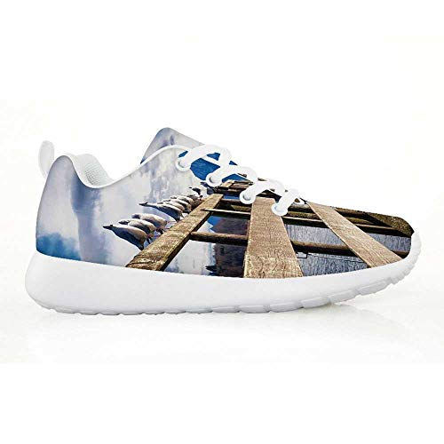 TecBillion Landscape Comfortable Running Shoes,Seagulls on Old Wooden Jetty Lakeside Hills in Bavaria Landscape Picture for Kids Boys,EU31