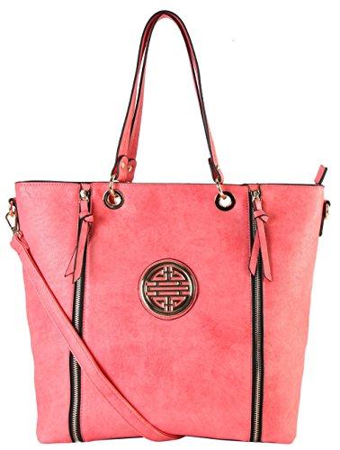 rimen-co-gold-medallion-logo-front-double-zipper-shopping-tote-handbags-dh-2033-coral