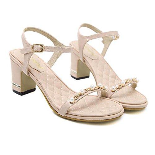Femmes Été Perles Sandales Roman Peep Toe Vintage Bloc Talon Strappy Bal Travail De Mariage Chaussures Apricot 5mXKegCA
