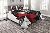 Lunarable Skull Bedspread Set Queen Size, Sexy Sugar Skull Lady with Mexican Style Floral Mask Evil Gothic Dead Art, Decorative Quilted 3 Piece Coverlet Set with 2 Pillow Shams, Grey White Black Red