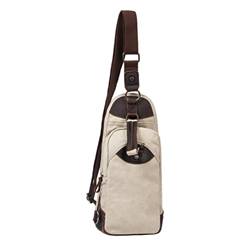 Vintage Canvas Sling Bag, UBORSE Casual Chest Pack Unbalance Backpack For Men and Women, White