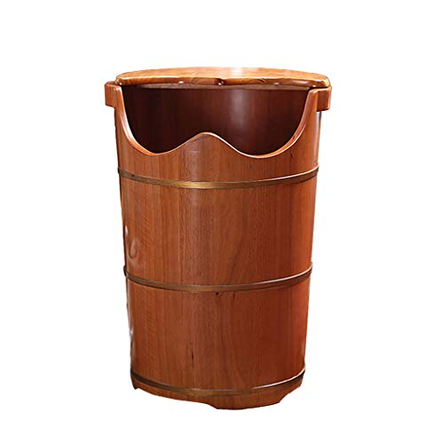 ZUOANCHEN Foot Tub/Heightening Foot Bath Barrel Solid Wood Movable Universal Wheel With Cover Massage Beads Foot Massage Basin, Soak, Massage, Spa, Sauna (Wood Bath Bucket)