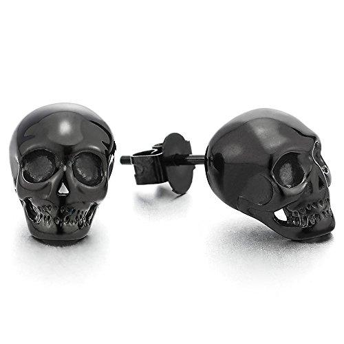- Rock Punk Gothic Small Stainless Steel Black Skull Stud Earrings for Men Women, 2 pcs
