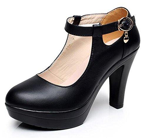 Chfso Donna Elegante Charms Tinta Unita Cinturino Alla Caviglia Con Cinturino Alla Caviglia E Tacco Alto Nero