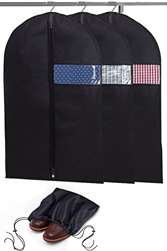Garment Bags with Shoe Bag - Breathable Garment Bag Covers Set of 3 for Suit Carriers, Dresses, Linens, Storage or Travel - Suit Bag with Clear Window