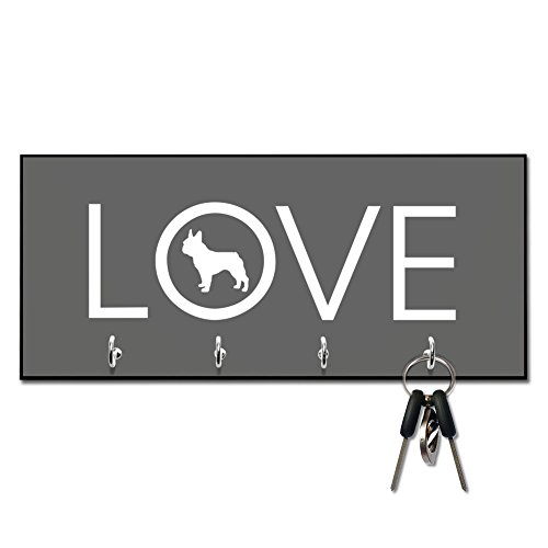 Love French Bulldog Key and Leash Hanger by Pattern Pop