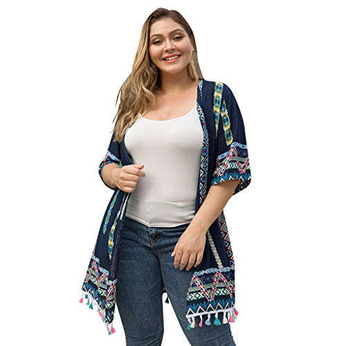 Pretty Cardigan Womens Plus Size Tassel Lace Positioning Printing Stitching Top Navy