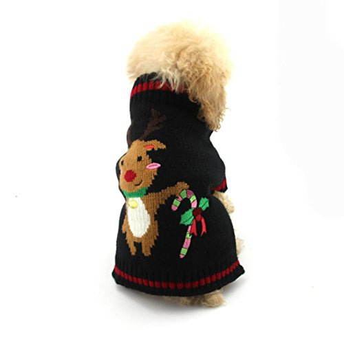 [Charberry Pet Christmas Deer Printed Clothes Puppy Winter Sweater Costume (M, Black)] (Snuggles Dog Costume)