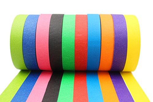 Colorful Masking Tape 10 Rolls Variety Pack - Art and Craft Projects or Painting - Cute, Bright Colors: Purple, Green, Pink, Black, Blue, Red, Yellow, Orange = 1' x 60 Yard