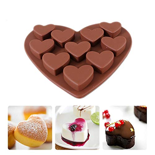 Midress 10 Holes Heart Shaped Silicone Mold for Chocolate Fondant Cake Jelly Pudding Handmade Dessert Mould,Food Grade Silicone Mold (Coffee)