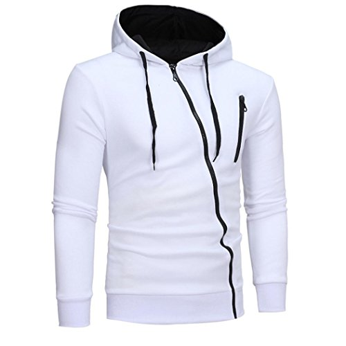 | Men Fashion Coat,Todaies Men Patchwork Jackets Fashion Sweatshirt Jacket Tops Casual Coat (M, White)