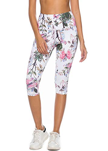 - Mint Lilac Women's High Waist Printed Yoga Pants Tummy Control Workout Capri Leggings Medium