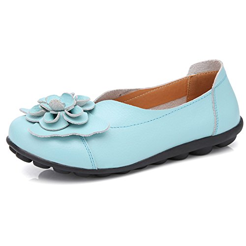 LINGTOM Casual Moccasin Shoes Women Flat Loafer Girls Slippers Slip-on for Driving Sky Blue