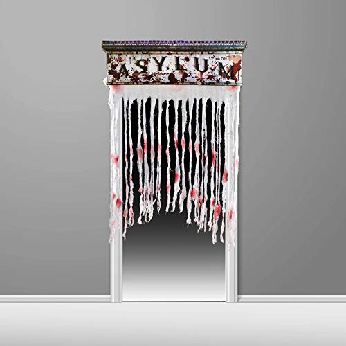 Zombie Asylum Door Curtain Decoration with Bloody Hand Prints and Spiders, Horror Decoration for Halloween Theme Party -