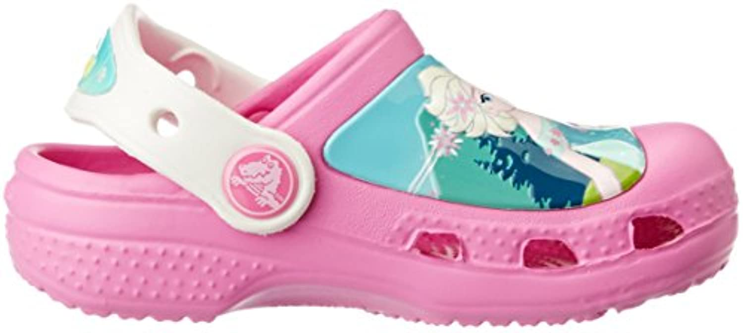 Crocs CC Frozen Fever Unisex-Kids' Clogs - Party Pink/Oyster, 4/5 UK Child (19-21 EU)
