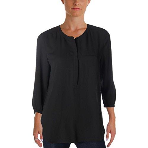 NYDJ Women's Petite 3/4 Sleeve Henley Pleat Back Blouse, Black, ()