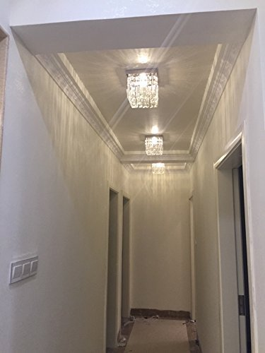 Moooni Hallway Crystal Chandelier 1 - Light W8'' Mini Modern Square Flush Mount Ceiling Light Fixture by Moooni (Image #5)