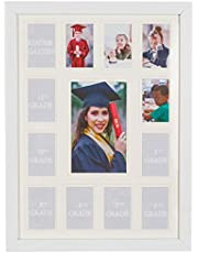 WOOD SIDE ORBIS School Years Picture Days Collage Frame with Double White Mat, Photos from Kindergarten to Graduation, K-12 Keepsake