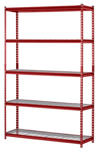 "Muscle Rack UR184872-R 5-Shelf Steel Shelving Unit, 48"" Width x 72"" Height x 18"" Length, Red"