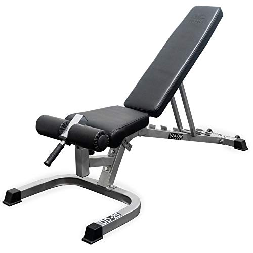 Valor Fitness DD-25 Adjustable Flat, Incline, Decline Bench with Wheels and Leg Support - 7 Position Back Pad, 4 Position Seat Pad