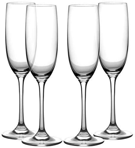 Amlong Crystal Lead-Free Champagne Flutes Glasses, Normal Stem, Set of 4