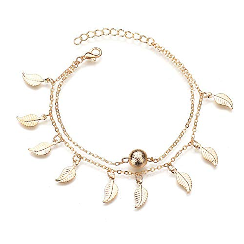 W WARMHOL Double Layer Anklet Foot Chain Beach Jewelry Bohemian Anklet Leaf and Ball Anklet Woman Jewelry