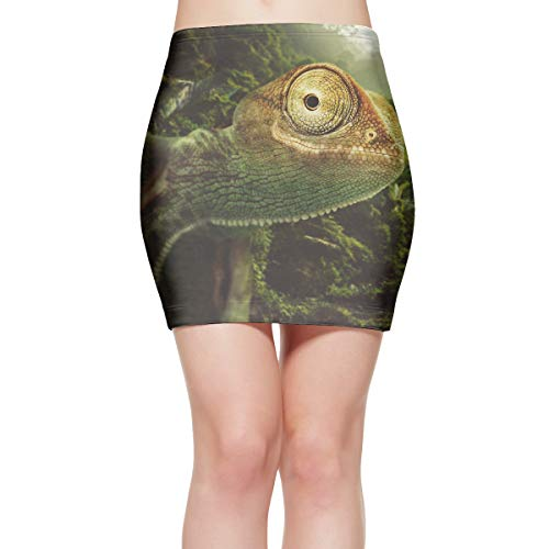 ZGZGZ Womens Reptile Chameleon Jungle Lizard Charming Stretch Mini Skirt Pencil Skirt Knee -