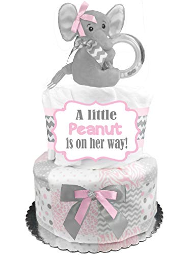 Elephant Diaper Cake - It's a Girl Baby Shower Gift - Pink and Gray -