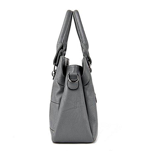 SHOUTIBAO Sac en à à Femme Main Main bandoulière grey la Sac Messenger Couture à Work Shopping deep Sac à Mode Unique Cuir Sac vgrvqf