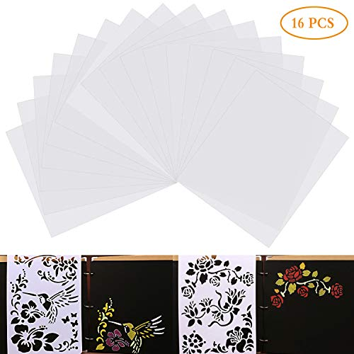 (16PCS 6mil Blank Stencil Sheets, 12 x 12inch Blank Mylar Templates Clear Plastic Mylar Sheets)