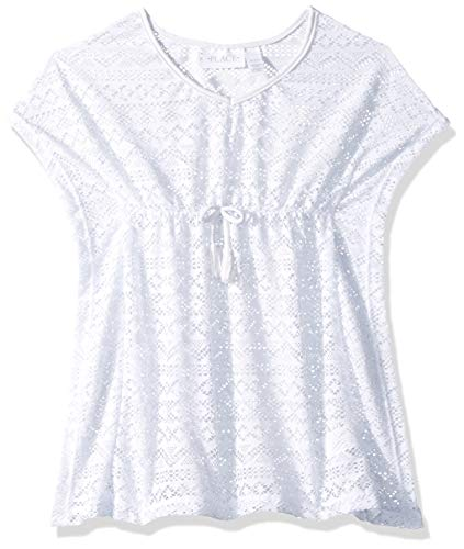 The Children's Place Big Girls' Beach Cover Up, White, M (7/8)