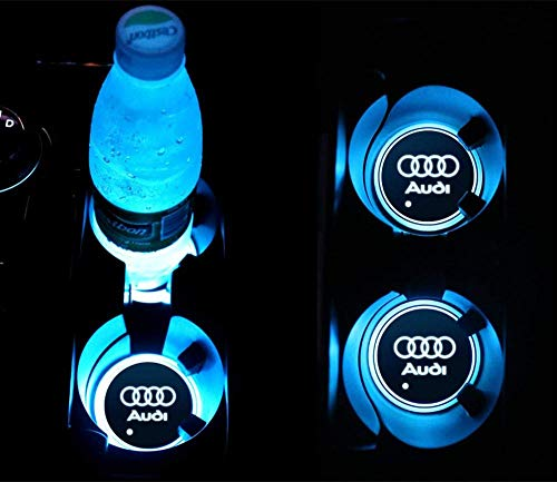 LED Cup Holder Lights, for Audi Accessories Car Logo Coaster with 7 Colors Changing USB Charging Mat, Luminescent Cup Pad Interior Atmosphere Lamp Decoration Light (2 PCS)