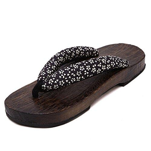 hibote Womens Men Wooden clogs Flip Flops Shoes #Xier H3