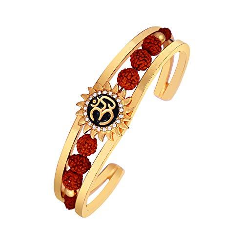 Amaal Rudraksha Kadas American Diamond Gold Rakhi Meena Bracelets Om Sun Cuff Kada Bracelet for Men Boys Brother -BR-A101 (B07YCQH5R2) Amazon Price History, Amazon Price Tracker