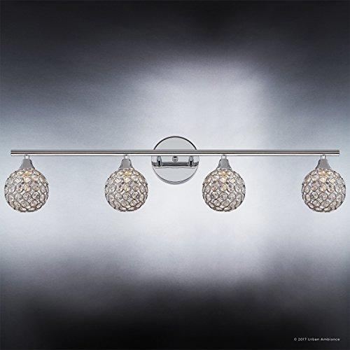 Luxury Crystal Globe LED Bathroom Vanity Light, Large Size: 8''H x 32.5''W, with Modern Style Elements, Polished Chrome Finish and Crystal Studded Shades, G9 LED Technology, UQL2632 by Urban Ambiance by Urban Ambiance (Image #3)