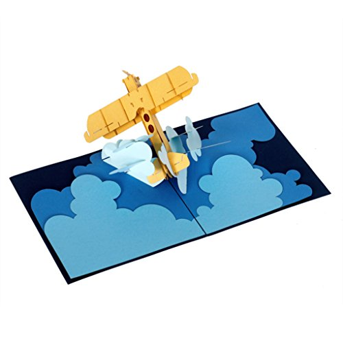 CUTEPOPUP 3d Pop Up Greeting Card AIRPLANE Flying Plane Best Gift Idea for Friends and Family, Thank You Cards, Valentine, Birthday. by CutePopup (Image #3)