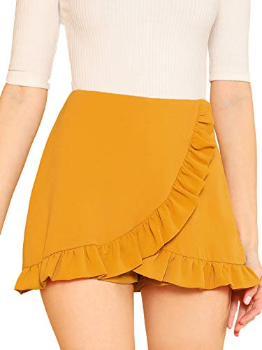 (SheIn Women's Mid Waist Ruffle Wrap Skorts Asymmetrical Plain Skirt Shorts Large Ginger)