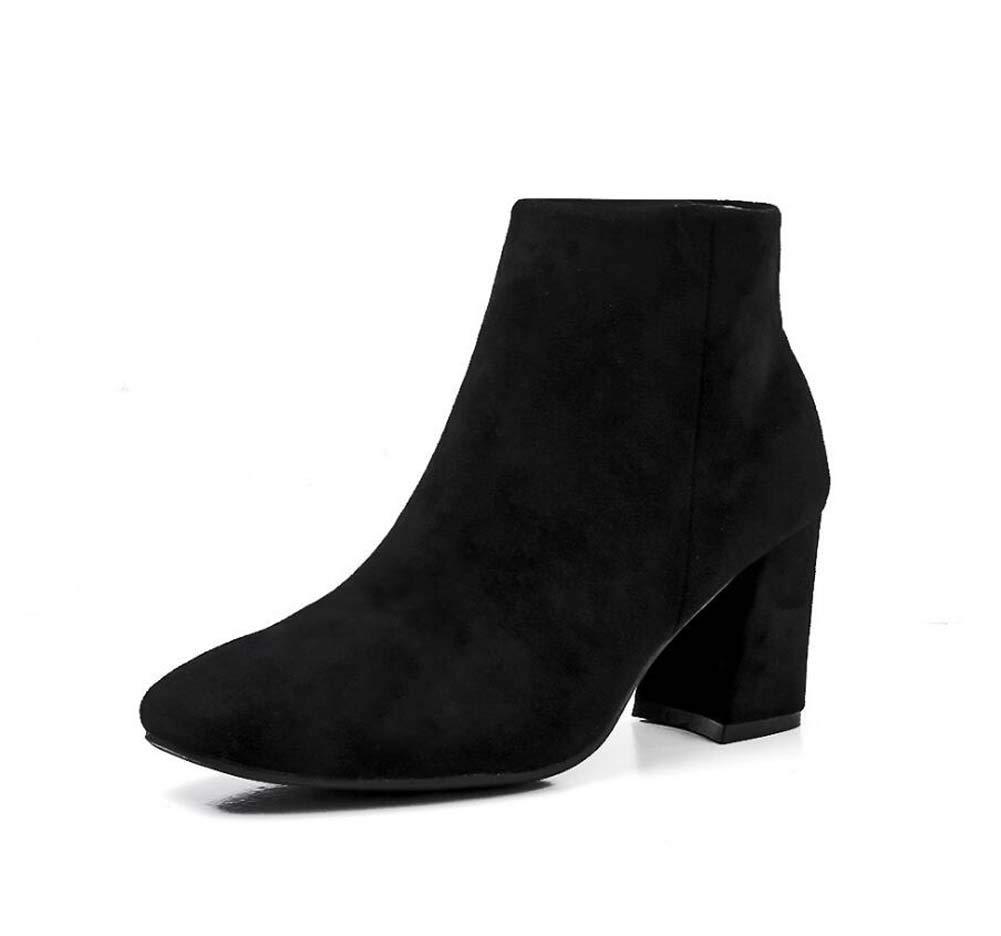 Knöchel Stiefelie 7Cm Chunkly Heel Martin Stiefel Frauen Quadratischen Zehen Reißverschluss Reine Farbe Kleider Schuhe OL Court schuhe EU Größe 34-40