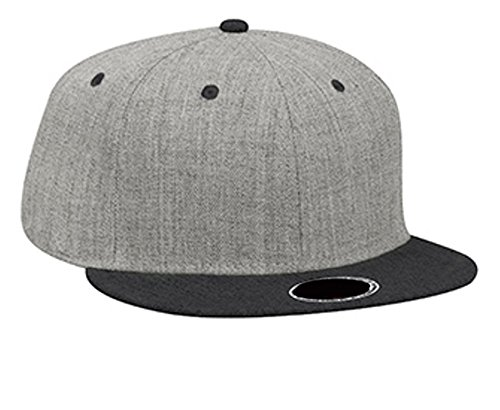 Hats & Caps Shop Heather Wool Blend Flat Visor Pro Style Snapback Caps - H.Blk/H.Gry/H.Gr... - By TheTargetBuys