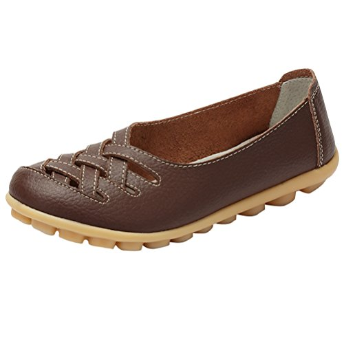 Vogstyle Damen Neu Hohl Mokassins Flach Loafer Slipper Schuhe Style 1-Kaffee