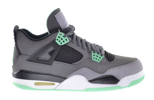 Jordan Air 4 Retro Men's Sneakers Dark Grey/Green Glow-Cement Grey-Black 308497-033-11 (Cement Retro 4)