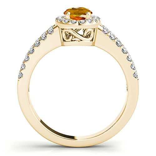 Oval Ring Shaped Citrine (1.65 Ct. Ttw Diamond and Oval Shaped Citrine Ring in 10K Yellow Gold)